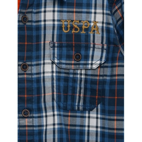 U.S. Polo Assn. Kids Boys Blue & Grey Checked Casual Shirt