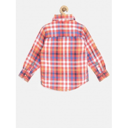 Pepe Jeans Boys Red Semi Fit Checked Casual Shirt