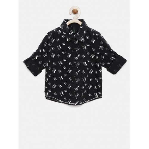 United Colors of Benetton Boys Black Regular Fit Printed Casual Shirt