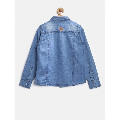 YK Boys Blue Washed Denim Shirt