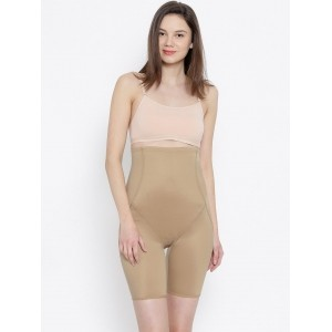 Enamor Beige Solid Polyamide Shorts Shapewear