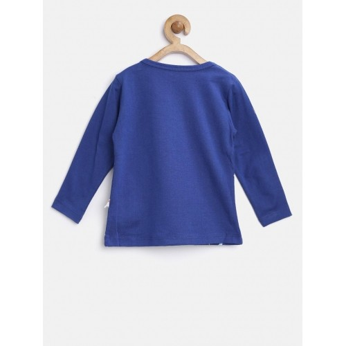 Baby League Girl's Blue Printed Round Neck T-Shirt
