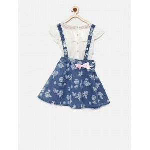 Peppermint Girl's Blue & White Printed Clothing Set