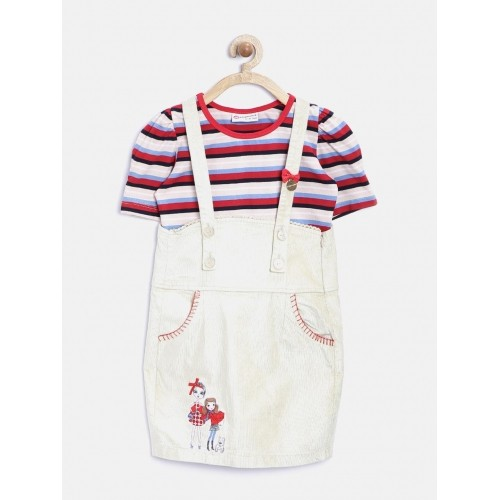Peppermint Girl's Beige Striped Clothing Set