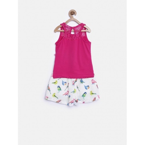 Peppermint Girl's Magenta & White Printed Clothing Set