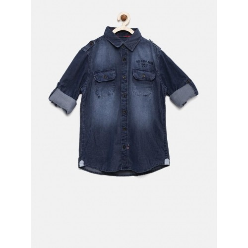 U.S. Polo Assn. Kids Boys Blue Corduroy Casual Shirt