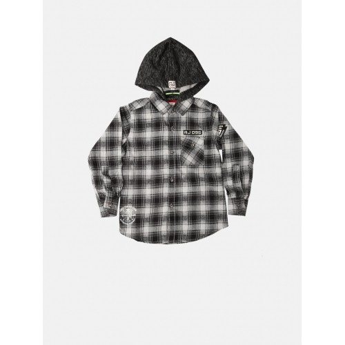 RUFF Boys Black & White Checked Hooded Shirt