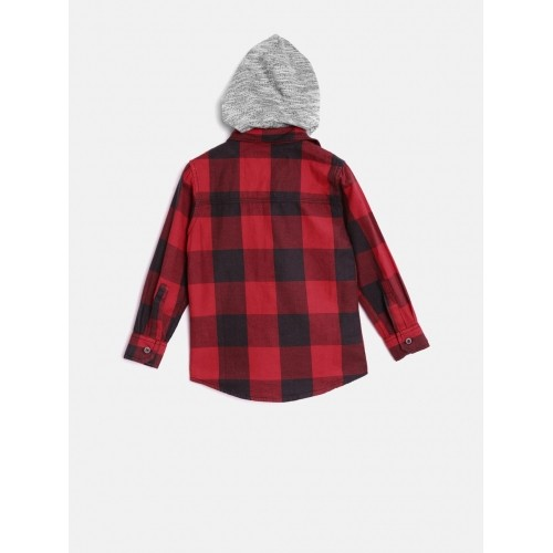 RUFF Boys Red Checked Shirt with Detachable Hood