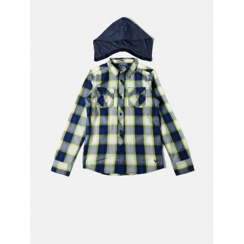 Allen Solly Junior Boys Blue & Green Checked Hooded Casual Shirt