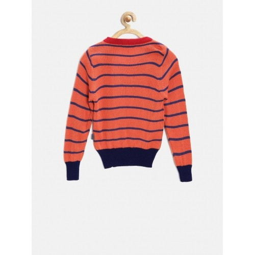 Buy Wingsfield Boys Orange & Navy Striped Sweater online | Looksgud.in