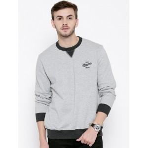 John Players Grey Solid Melange Sweatshirt