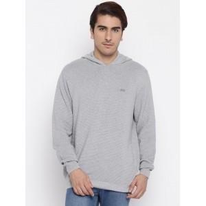 John Players Grey Melange Hooded Sweatshirt