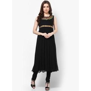 MBE Black Embroidered Empire Waist Anarkali Kurta