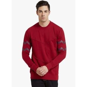 Elaborado Red Cotton Fleece Solid Sweatshirt