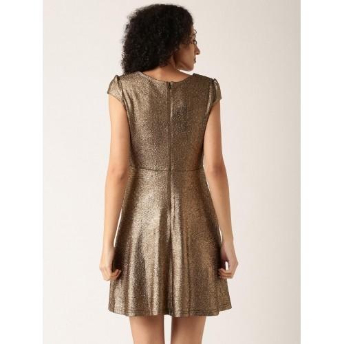 DressBerry Women Bronze Toned A-Line Dress