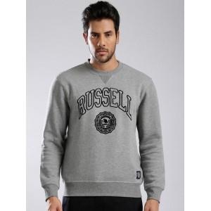 Russell Athletic Grey Melange Cotton Flock Print Sweatshirt