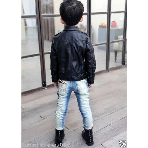 Hugme.Fashion Black Biker Leather Jaket For Kids