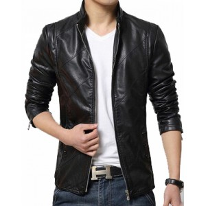 Hugme.Fashion Black Solid Original Leather Jacket