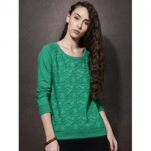 Roadster Green Poly Cotton Printed Sweatshirt