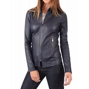 RK Leather Navy Blue Long Sleeve Jacket