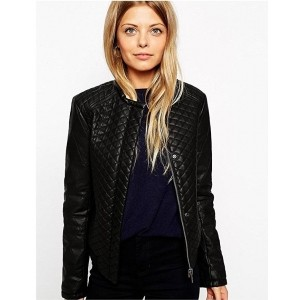 Chalk Factory Women's Black Genuine Leather Quilted Jacket