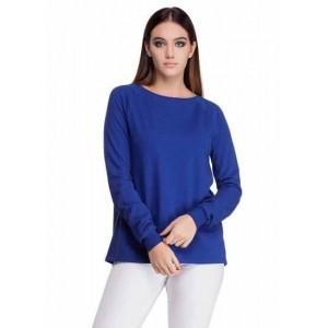 Femella Blue Fleece Back overlap Solid sweatshirt