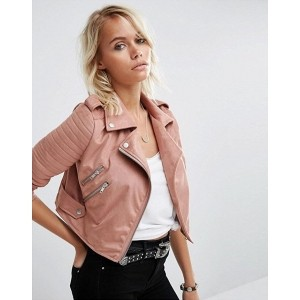 Chalk Factory Women's Pink Genuine Leather Cropped Jacket