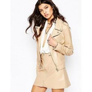 Chalk Factory Women's Beige Genuine Leather Jacket