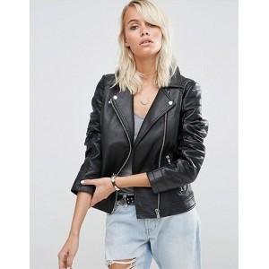 Chalk Factory Women's Genuine Leather Jacket In Black