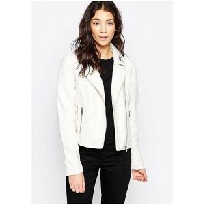 Chalk Factory Women's White Genuine Leather Jacket