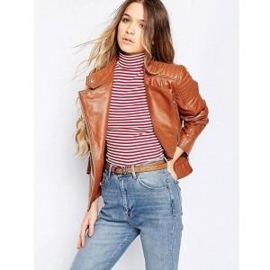 Chalk Factory Women's Brown Genuine Leather Jacket