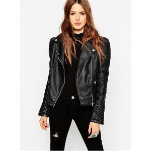 Chalk Factory Women's Black Leather Full Sleeve Jacket
