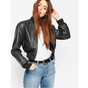 Chalk Factory Women's Black Genuine Leather Cropped Jacket