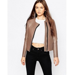 Chalk Factory Women's Brown Genuine Leather Cropped Jacket