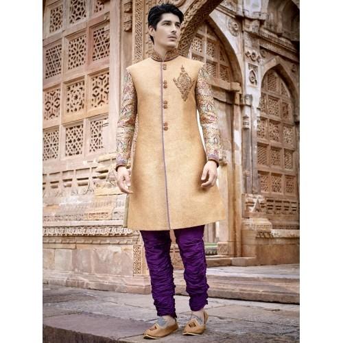 G3 Exclusive Beige Silk Embroidered Indo westren Sherwani