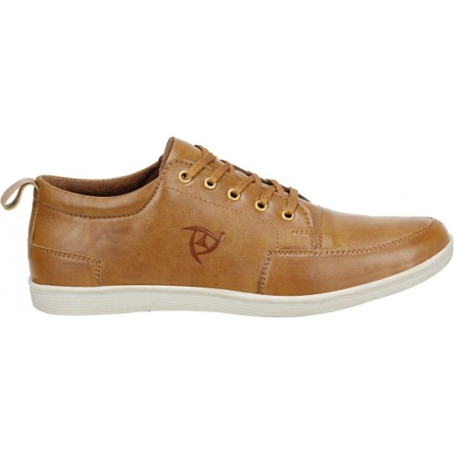 Kraasa Tan Synthetic Lace Up Sneaker