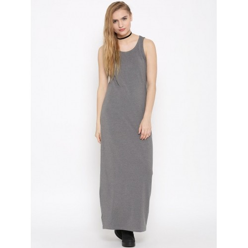 DressBerry Grey Melange Cotton & Viscose Maxi Dress