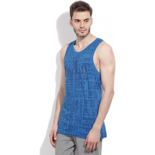 Adidas Blue Printed Round Neck T-shirt