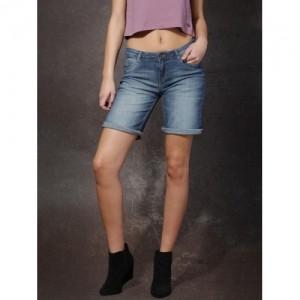 Roadster Women's Blue Washed Denim Shorts