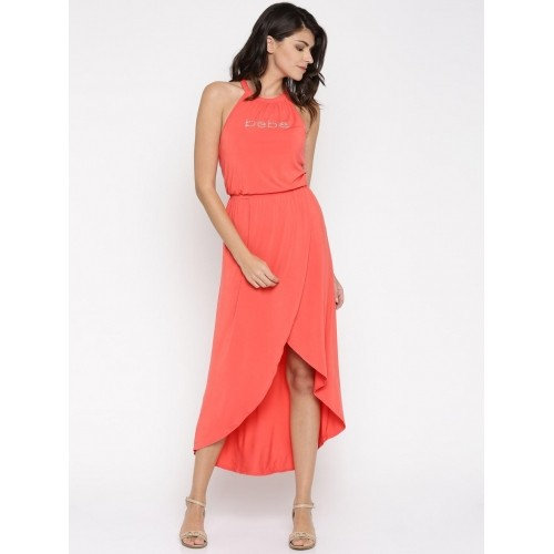 Bebe Coral Orange Solid Tulip Maxi Dress