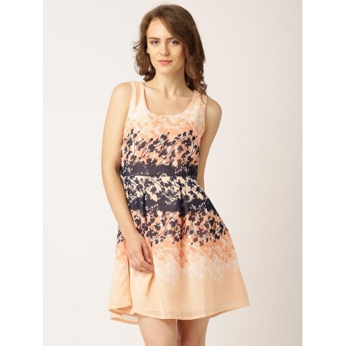 DressBerry Peach-Coloured Polyester Woven Printed Fit & Flare Dress