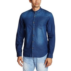 Highlander Blue Cotton Solid Casual Shirt