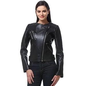 Bareskin Black Long Sleeve Leather Women's Biker Jacket