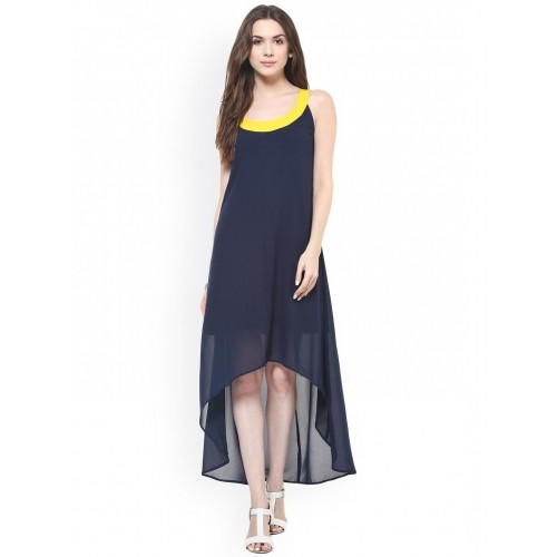 Zima Leto Navy Blue Solid High-Low Dress