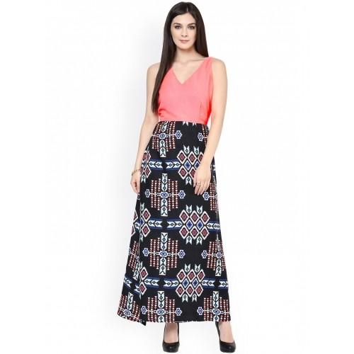 ce10c21578 Buy Zima Leto Pink   Black Printed Maxi Dress online