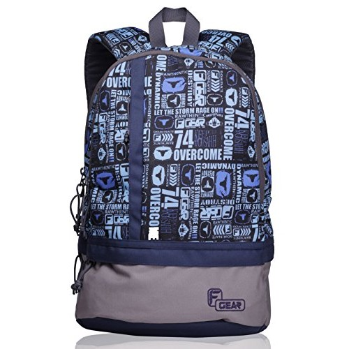 F Gear Blue &Grey Printed Unisex Casual Backpack