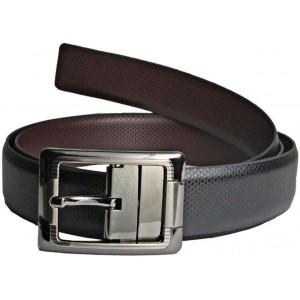 LEE O Black Genuine Leather Men's Reversible Belt