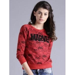 Kook N Keech Red & Black Knitted Printed Sweatshirt