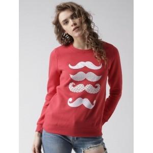 Metersbonwe Red Knitted Printed Sweatshirt
