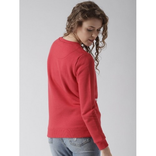 Metersbonwe Red Knitted Printed Sweatshirt